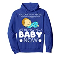 Baby Family Pregnant Mother Daughter Son Design Having Baby Shirts Hoodie Royal Blue