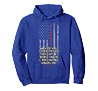 Thin Red Line Firefighter Bible Verse Usa American Flag Shirts Hoodie Royal Blue