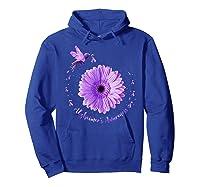 Hummingbird Sunflower Purple Ribbon Alzheimer's Awareness Shirts Hoodie Royal Blue