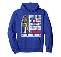 Home Of The Free My Granddaughter Is Brave Proud Army Granny Premium T-shirt Hoodie Royal Blue