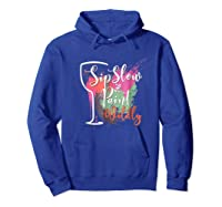 Paint And Sip Art Night Party Wine Canvas Wild Fun Shirts Hoodie Royal Blue