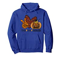 Peace Love Halloween Leopard Print Pumpkin Custom Gift Premium T-shirt Hoodie Royal Blue