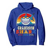 Vintage Grandson Shark T-shirt Birthday Gifts For Family Hoodie Royal Blue