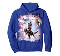 Laser Eyes Space Cat On Dinosaur - Rainbow T-shirt Hoodie Royal Blue