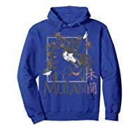 Disney Mulan Floral Square Portrait T-shirt Hoodie Royal Blue