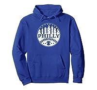 Vintage Distressed Philadelphia Philly Baseball City Skyline Shirts Hoodie Royal Blue