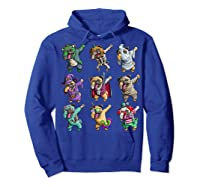 Funny Pug Halloween Pug Pumpkin Dabbing Pug Unicorn Witch Shirts Hoodie Royal Blue