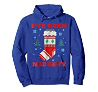 Naughty & Nice Matching T-shirts, Ugly Christmas Sweater #1 Hoodie Royal Blue