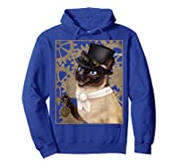 Steampunk Cat - Siamese With A Top Hat, Goggles, And Gears T-shirt Hoodie Royal Blue