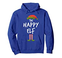 Happy Elf Matching Family Christmas Group Party Pajama Shirts Hoodie Royal Blue
