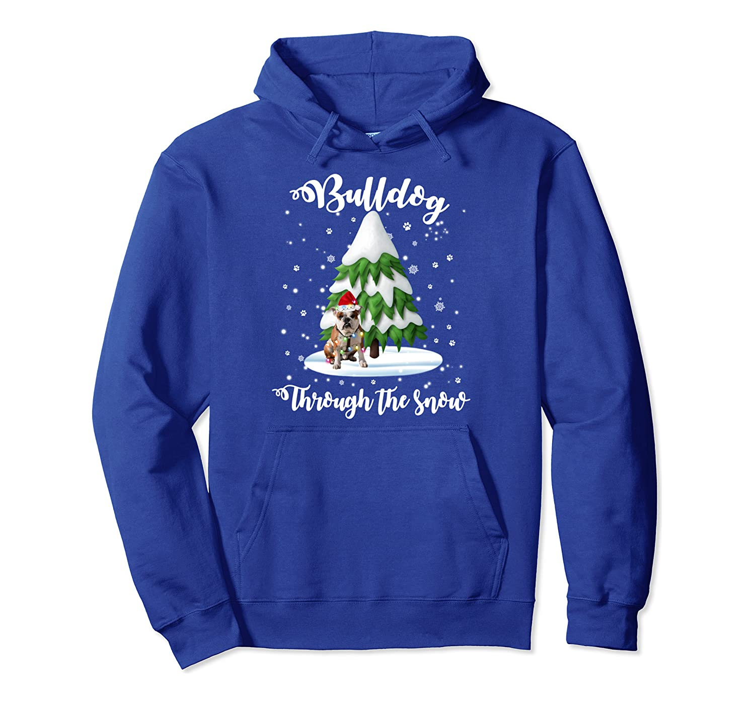 Bulldog Through The Snow Christmas Gift Dog Lovers Pullover Hoodie