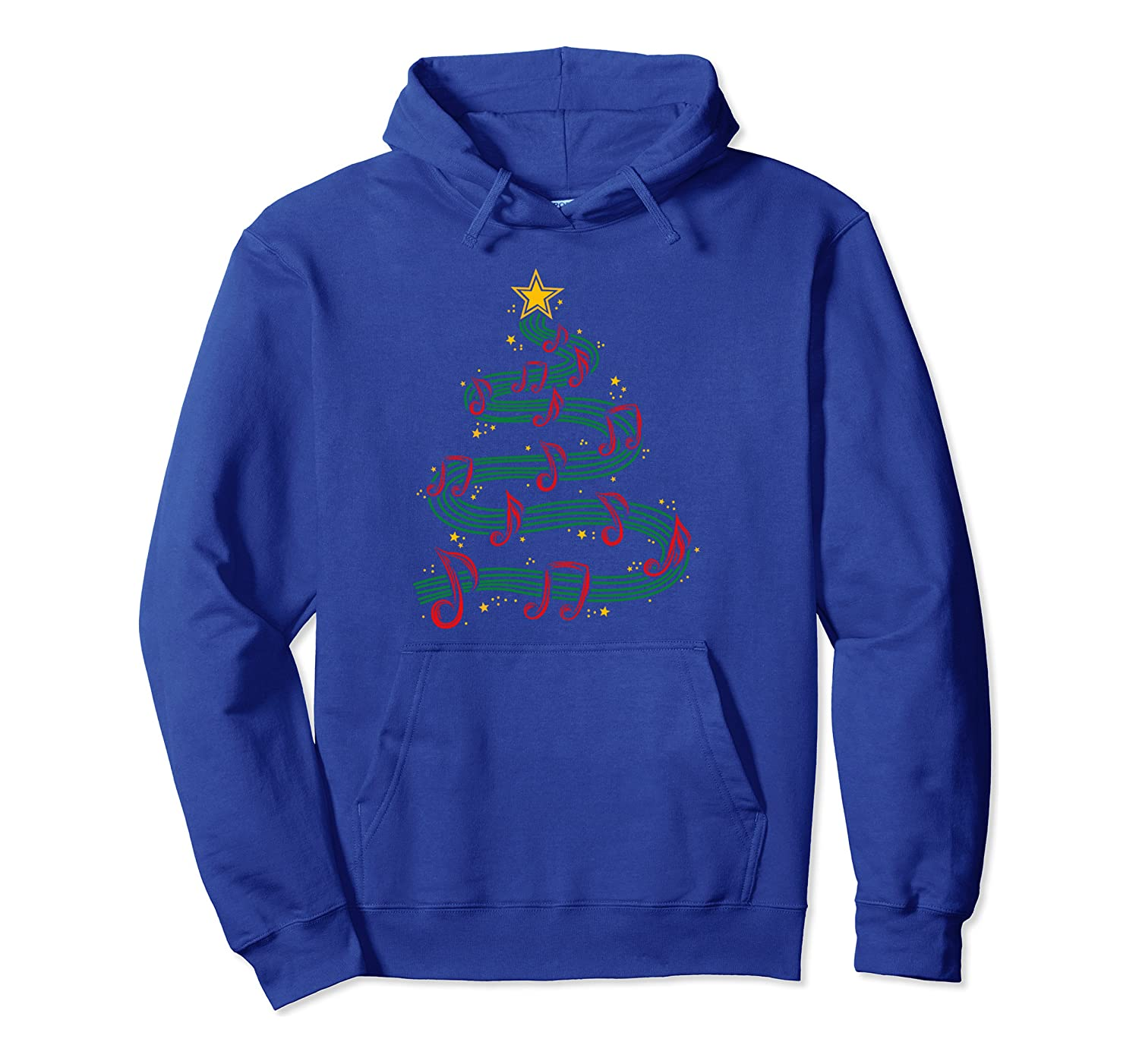 Christmas Tree Musical Notes Song Musician Sing Carols Music Pullover Hoodie