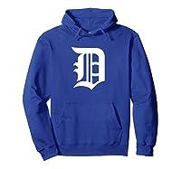 Detroit Baseball D | Vintage Michigan Bengal Tiger Retro Pullover Shirts Hoodie Royal Blue