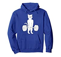Cat Deadlift Powerlifting Kitty Sweater, Muscle Cat Shirts Hoodie Royal Blue