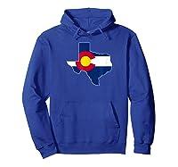Colorado Flag Texas Outline Texas Colorado Graphic Shirts Hoodie Royal Blue