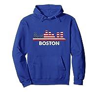 Boston City American Flag Shirt 4th Of July Shirts Hoodie Royal Blue