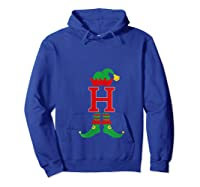 Elf Initial H Matching Family Group Christmas Holiday Gift T-shirt Hoodie Royal Blue