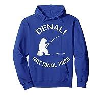 Alaska Denali National Park Bear Fishing Silhouette T-shirt Hoodie Royal Blue
