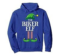 Biker Elf Matching Family Group Christmas Party Pajama T-shirt Hoodie Royal Blue