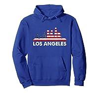 La City American Flag Shirt 4th Of July Shirts Skyline Hoodie Royal Blue