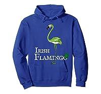 Funky Irish Flamingo Apparel Green Bird St Pattys Day Tshirt Hoodie Royal Blue