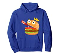 King Hamburger Drinking Tomato Sauce Funny Cartoon Tshirt Hoodie Royal Blue