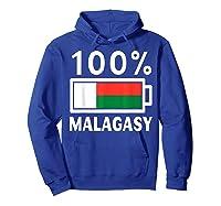 Madagascar Flag T Shirt 100 Malagasy Battery Power Tee Hoodie Royal Blue