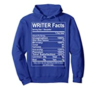 Writer Facts Storyteller Nutrition Information T Shirt Hoodie Royal Blue