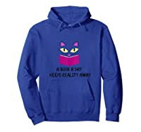Cute Kitty Cat Face A Book A Day Keeps Reality Away Tank Top Shirts Hoodie Royal Blue