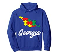 Autism Awareness Day Georgia Puzzle Pieces Gift Shirts Hoodie Royal Blue