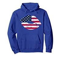 Cool Lips With American Flag Girl 4th Of July Gift Shirts Hoodie Royal Blue
