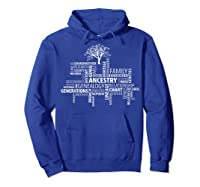 Genealogy Ancestry Word Cloud Research Your Family Shirts Hoodie Royal Blue
