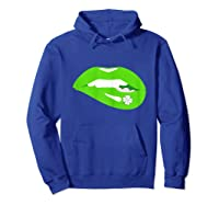 Funny Saint Patricks Day T With Lips And Shamrock Shirts Hoodie Royal Blue