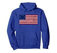 Distressed Betsy Ross Flag T Shirt Hoodie Royal Blue