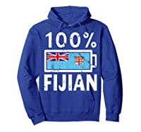Fiji Flag T Shirt 100 Fijian Battery Power Tee Hoodie Royal Blue