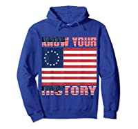 Betsy Ross Flag 1776 Vintage American Know Your History T Shirt Hoodie Royal Blue