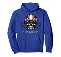 New England Football Helmet Sugar Skull Day Of The Dead Shirts Hoodie Royal Blue