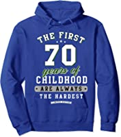 70th Birthday Funny Gift Life Begins At Age 70 Years Old T-shirt Hoodie Royal Blue