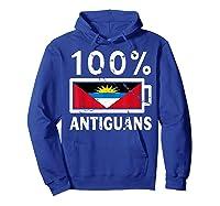 Antigua Barbuda Flag Shirt 100 Antiguans Battery Power Hoodie Royal Blue