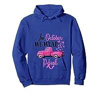 October Breast Cancer Awareness Month Pumpkin Vintage Truck T Shirt Hoodie Royal Blue
