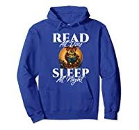 Sleep All Day Read All Night Bookish Read A Book Day Owl Premium T Shirt Hoodie Royal Blue