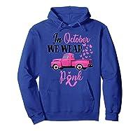 October Breast Cancer Awareness Month Pumpkin Vintage Truck Premium T Shirt Hoodie Royal Blue