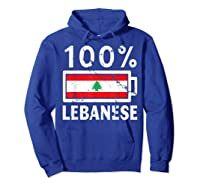 Lebanon Flag T Shirt 100 Lebanese Battery Power Tee Hoodie Royal Blue