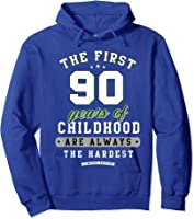 90th Birthday Funny Gift Life Begins At Age 90 Years Old T-shirt Hoodie Royal Blue