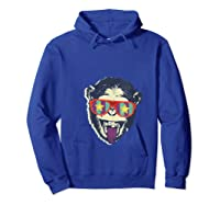 Crazy Monkey Chimp Funny And Vintage Music Love Shirts Hoodie Royal Blue