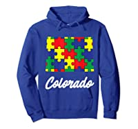 Autism Awareness Day Colorado Puzzle Pieces Gift Shirts Hoodie Royal Blue