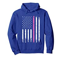 Stars Stripes Thin Pink Line Breast Cancer Awareness Month T Shirt Hoodie Royal Blue