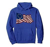 America Betsy Ross Flag 1776 Vintage Distressed T Shirt Hoodie Royal Blue