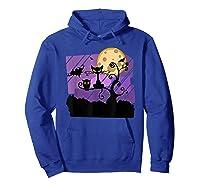 Dark Spooky Night Black Cat With Bats Halloween Shirts Hoodie Royal Blue