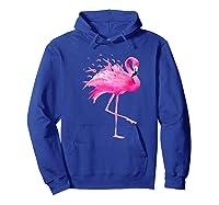 Funny Flamingo Breast Cancer Awareness October Ribbon Pink Premium T Shirt Hoodie Royal Blue